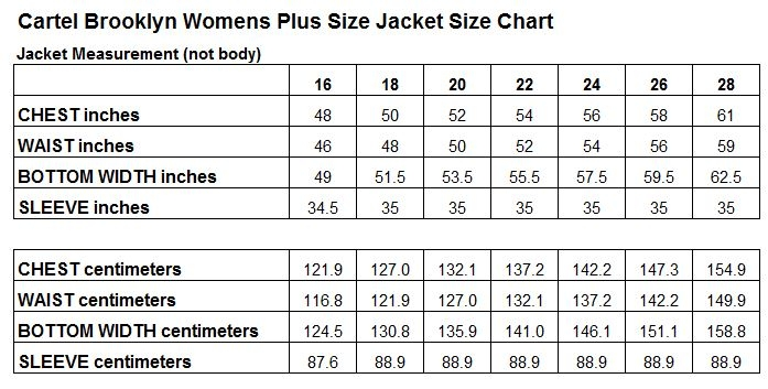 Cartel Brooklyn Womens Ski Snow Jacket Size Chart