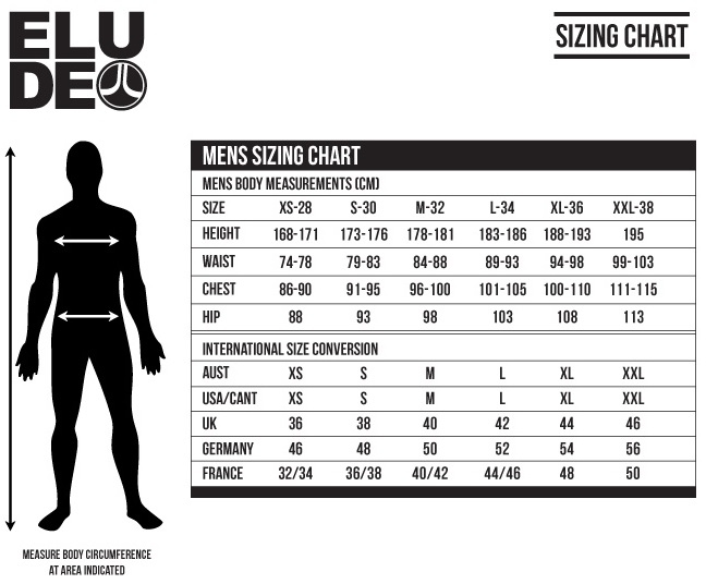 Elude Mens Size Chart