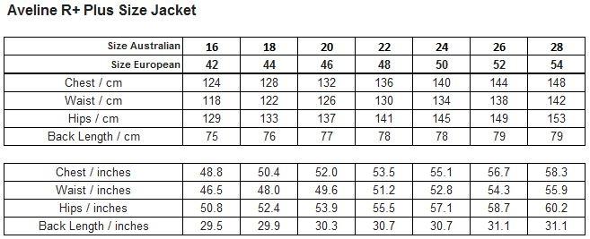 Raiski Aveline R+ Womens Plus Size Jacket Size Chart