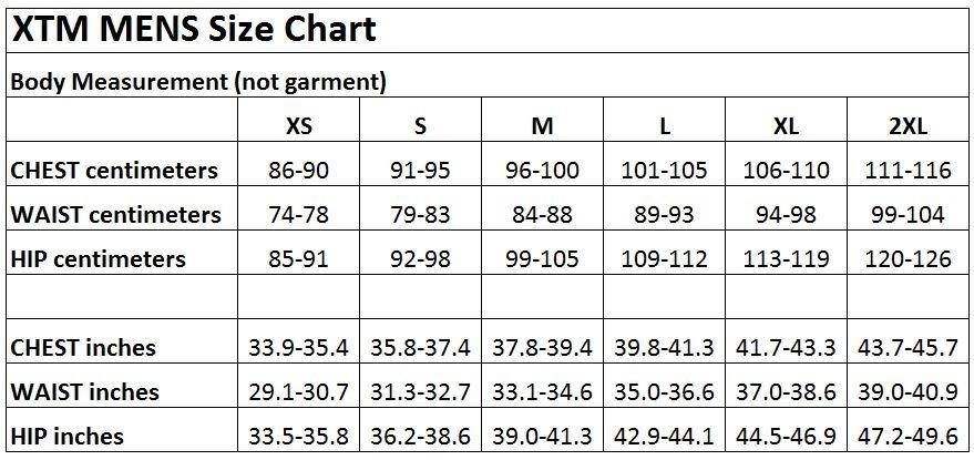 XTM Mens size chart 2018