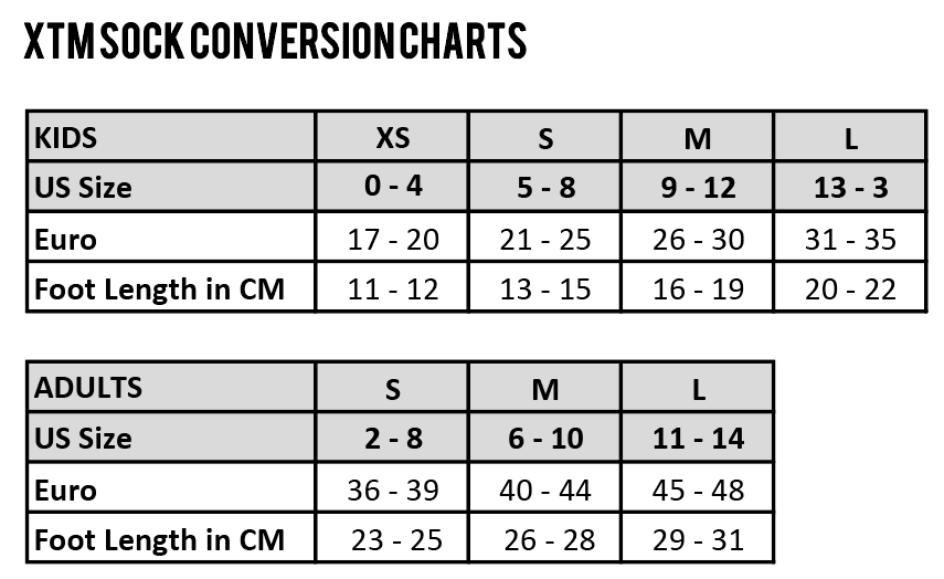 XTM Socks Size Chart