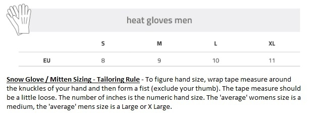Lenz Heat Size Chart Mens Gloves