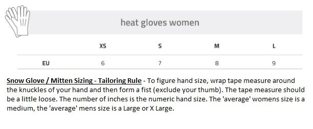 Lenz Heat Glove Size Chart - Womens