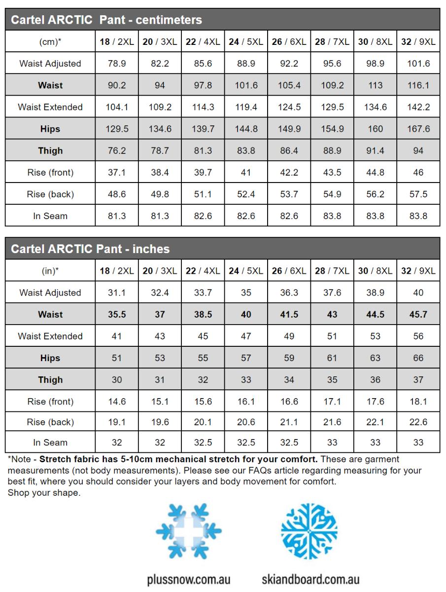 Cartel Arctic Womens Plus Size Snow Pant Beige 4XL-6XL size chart