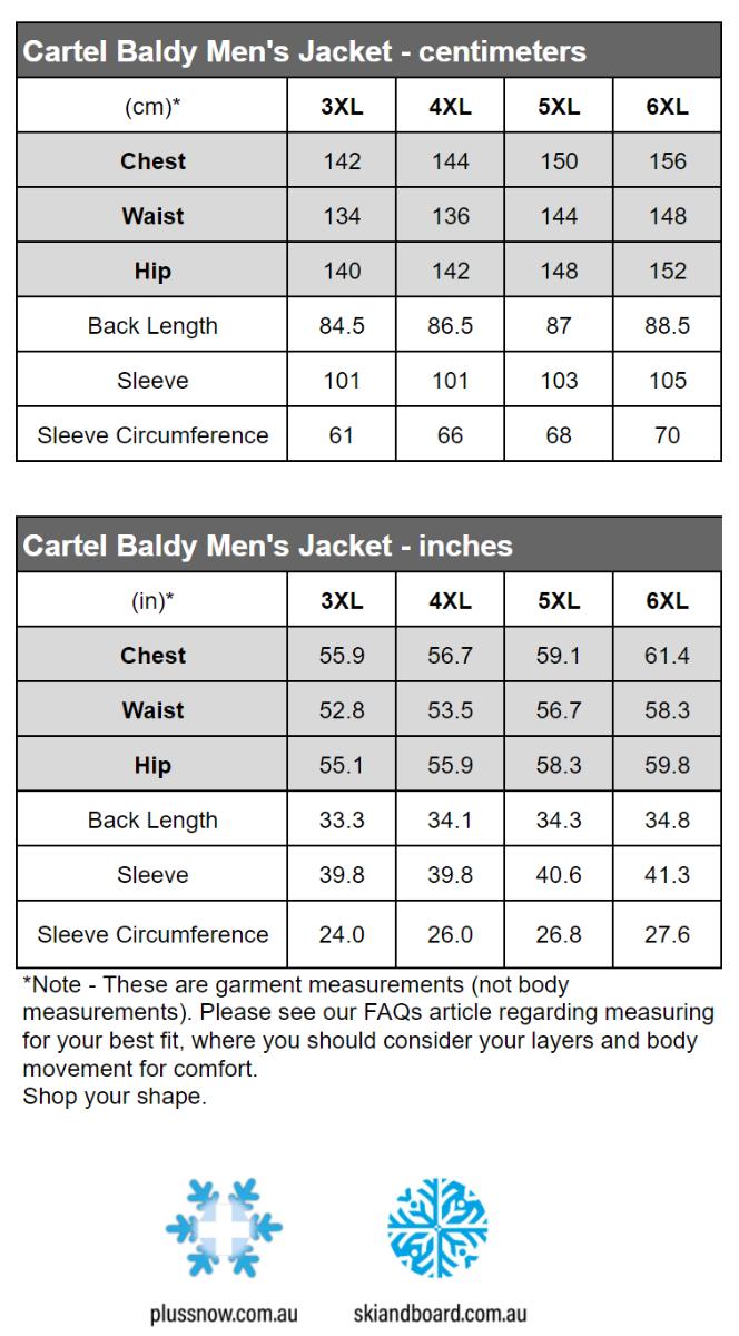 Cartel Baldy Mens Plus Size Snow Jacket Size Chart snip