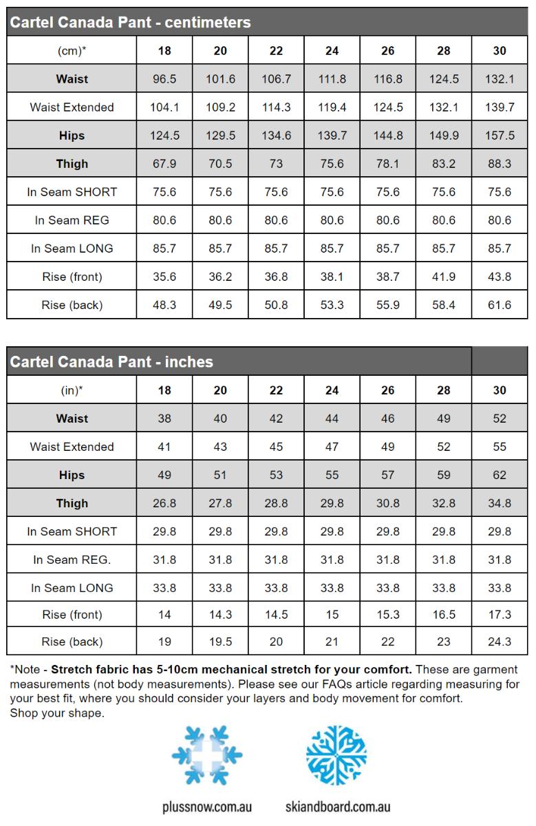 Cartel Canada Womens Plus Size Ski Pants Beige Sizes 20-26 size chart snip