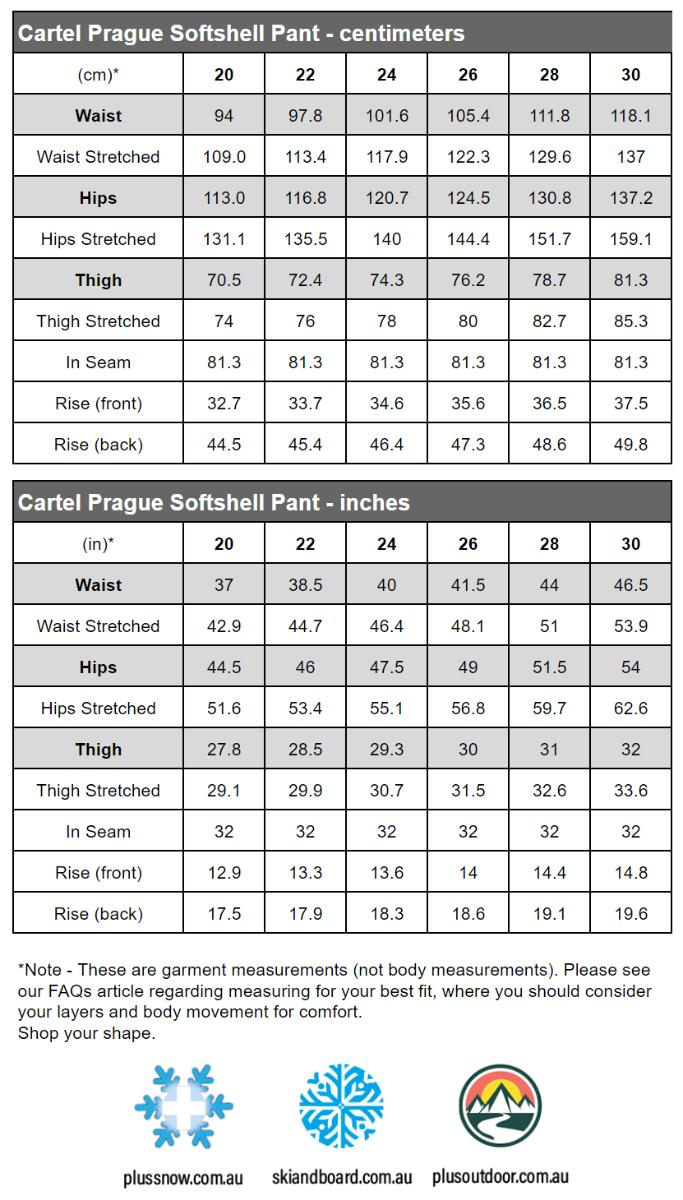 Cartel Prague Softshell Women's plus size womens stretch pants size chart
