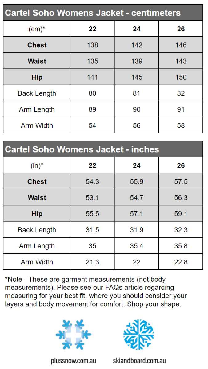 Cartel Soho Womens Plus Size Ski Jacket Mint Heather Sizes 20-26 size chart snip