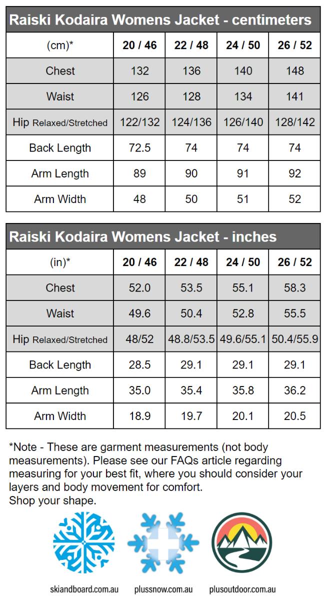 Raiski Kodaira R+ Womens Plus Size Winter Jacket Black Sizes 20-26 size chart snip