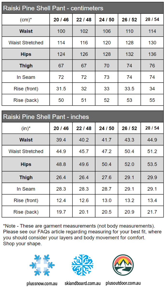 Raiski Pine Shell Plus Size Womens Rain Pants