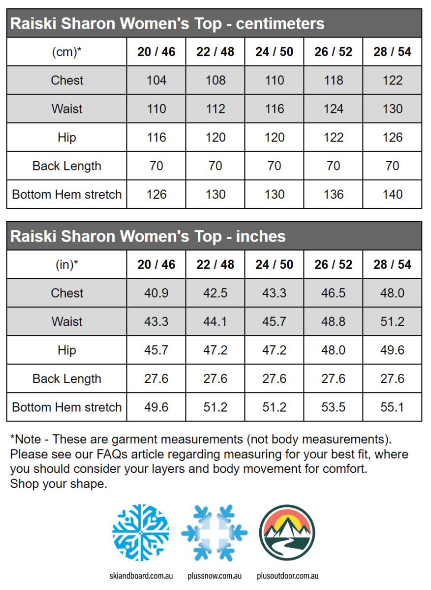 Raiski Sharon R+ Womens Plus Size Training Shirt Black Sizes 20-28 size chart snip