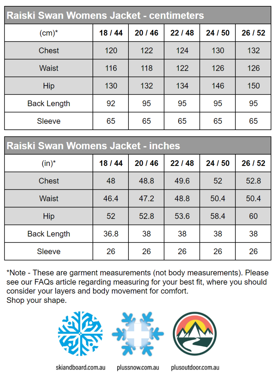 Raiski Swan R+ Womens Plus Size Snow Jacket Black Size 18 size chart snip