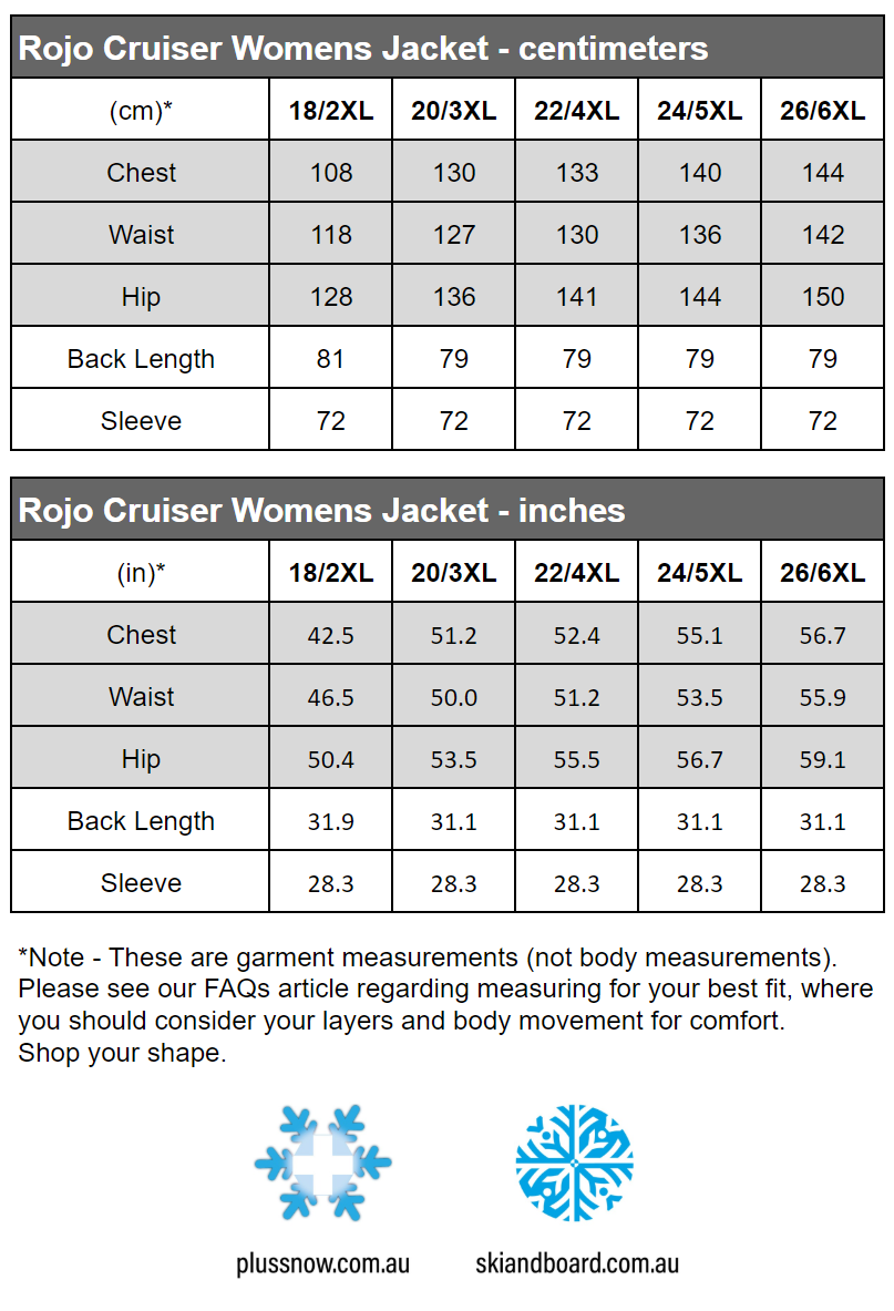 Rojo Cruiser Womens Plus Size Snow Jacket Black Sizes 18 - 26 size chart