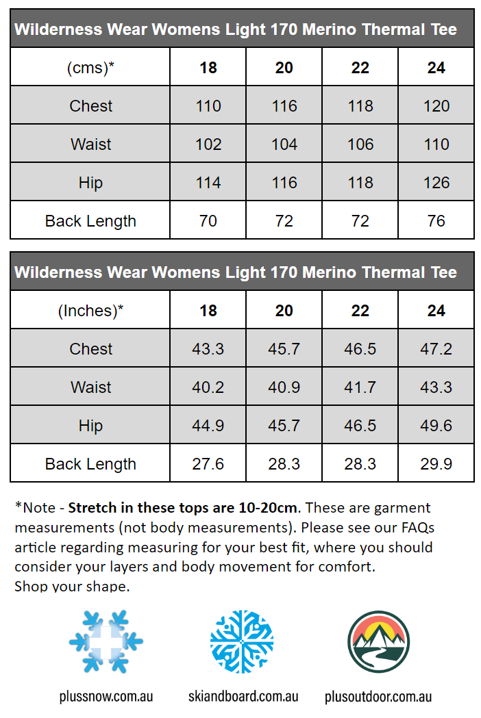 WILDERNESS WEAR WOMENS LIGHT MERINO 170 PLUS SIZE T-SHIRT BLACK size chart