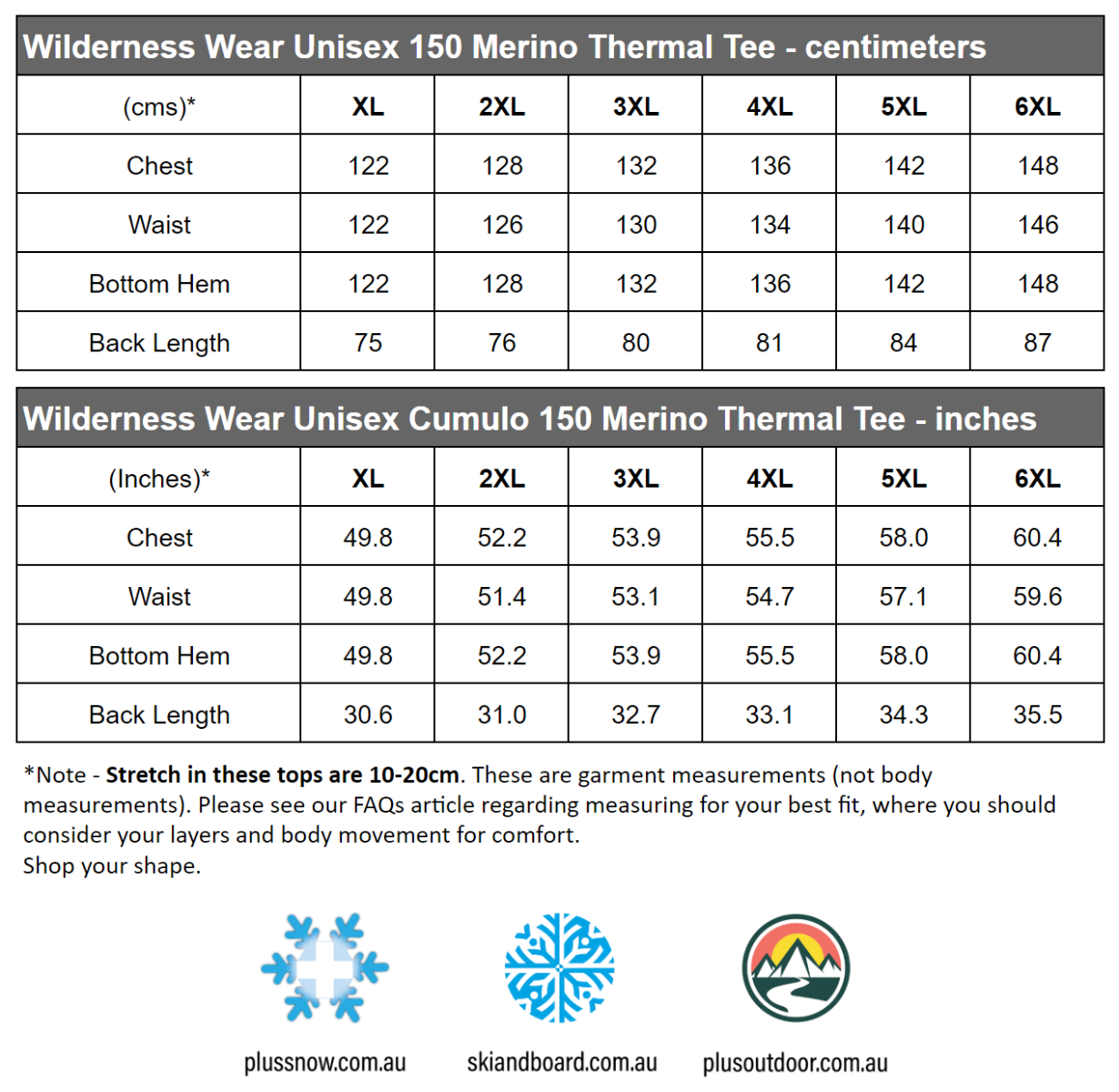 Wilderness Wear Unisex 150 Merino Wool Plus Size Thermal Tee Light Grey Size Chart snip