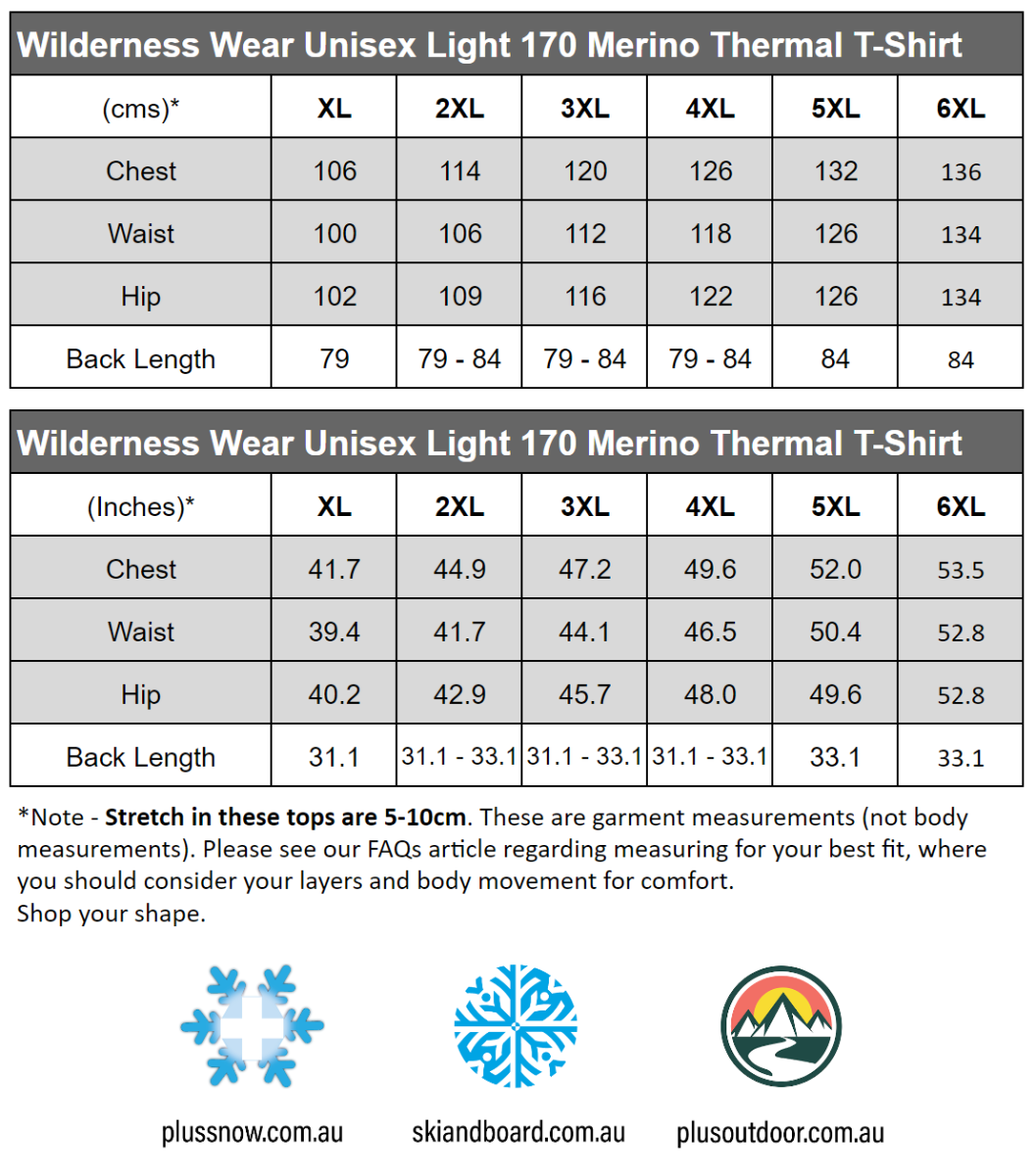 Wilderness Wear Merino Light 170 Plus Size T-Shirt Black size chart