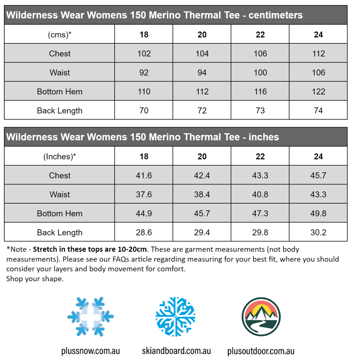 Wilderness Wear Womens 150 Merino Wool Plus Size Thermal Tee Light Grey size chart snip
