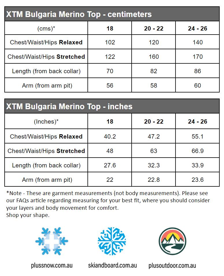 XTM Bulgaria Merino Wool Womens Plus Size Thermal Top Pink size chart