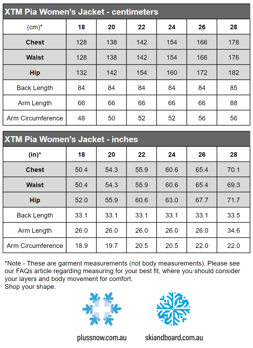 XTM Pia Womens Plus Size Ski Jacket Shiraz Denim Sizes 18 - 28 size chart