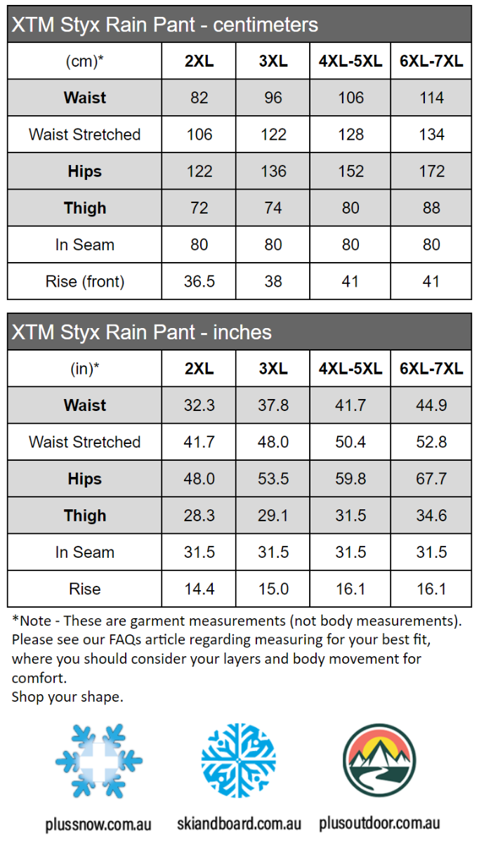 XTM Styx Rain Pant Measurement Chart