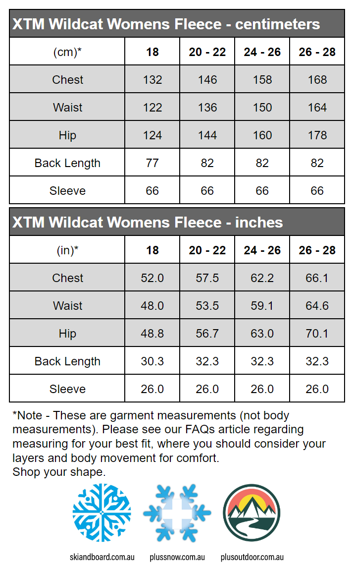 XTM Wildcat Ladies Plus Size Fleece Zip Jacket Shiraz Sizes 18-26 size chart
