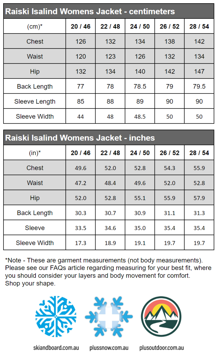 Raiski Isalind R+ Womens Plus Size Shell Jacket Black Sizes 20-28 size chart snip
