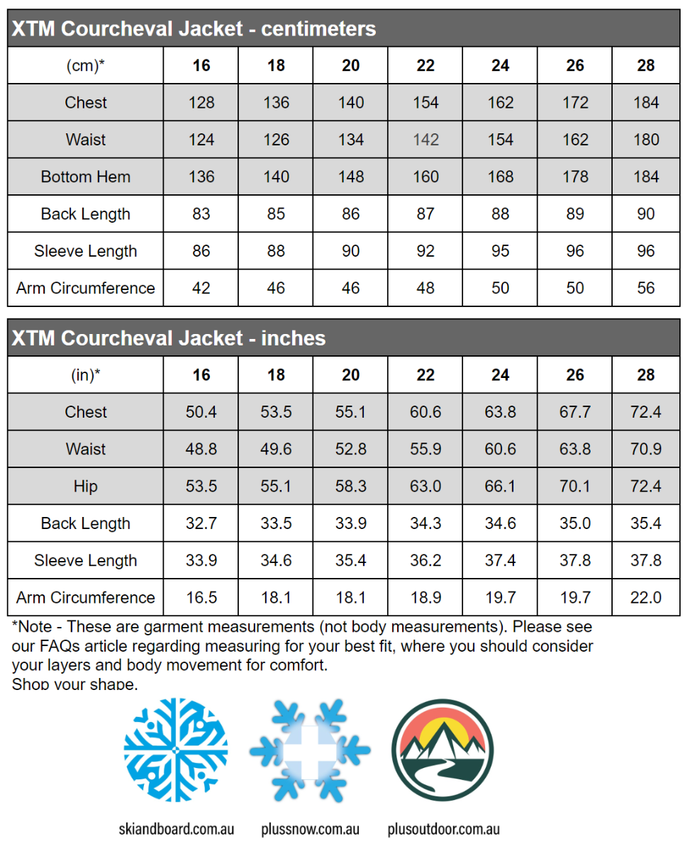 XTM Courcheval Womens Plus Size Long Snow Jacket Black 16-28 size chart