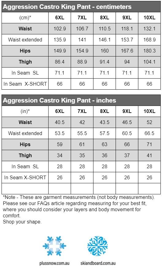 Aggression Castro King Size Snow Pant Black 6XL-10XL Size Chart