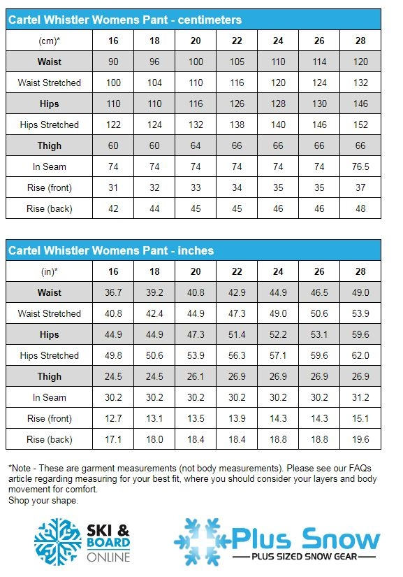 Cartel Whistler Womens SL Ski Pants Measurement Chart