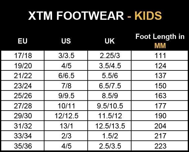 XTM Kids Footwear Size Chart