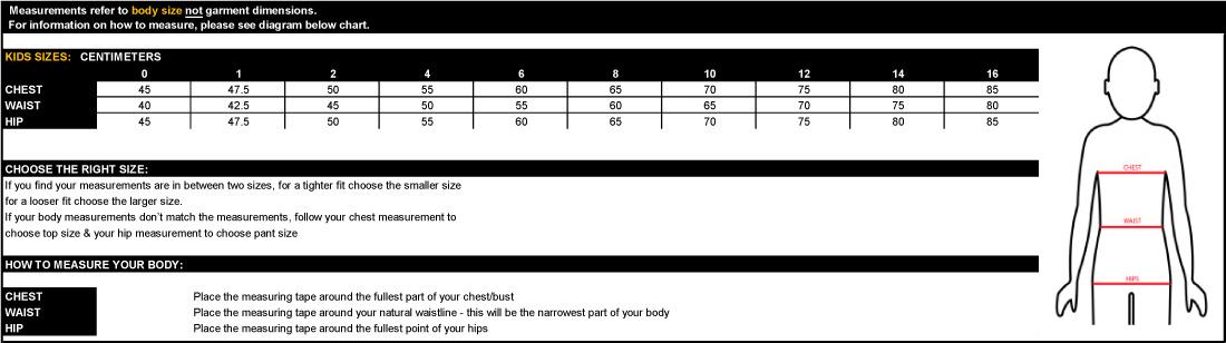 XTM Size Chart