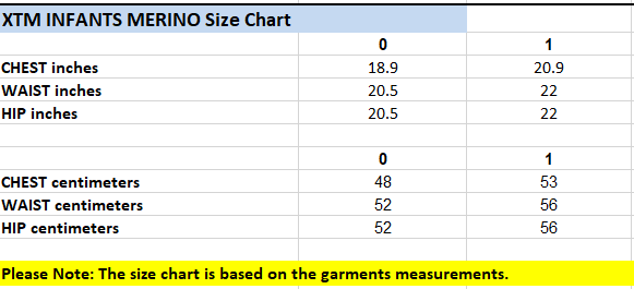 XTM Baby Size Chart