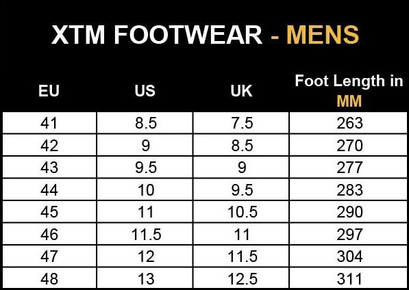 Mens Boot Size Chart